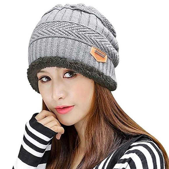 Winter Knitting Skull Cap Wool Slouchy Beanie Hat 3a059be999e